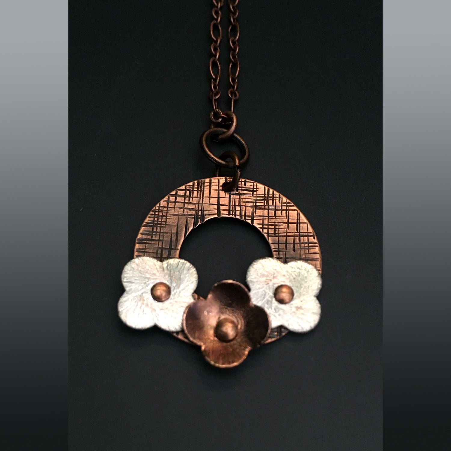 Circle of Flower Copper Pendant with Silver and Copper Flowers