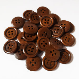 "Wooden Buttons 3/4"" - Espresso"