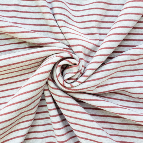 1x1 Yarn Dyed Striped Rib Knit - Coral Stripes