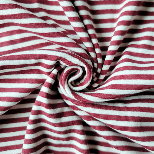 1x1 Yarn Dyed Striped Rib Knit - Cranberry Stripes