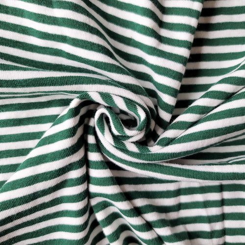 1x1 Yarn Dyed Striped Rib Knit - Evergreen Stripes