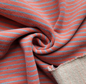 Large Loop French Terry Stripes - Tangerine Tango