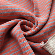 Load image into Gallery viewer, Large Loop French Terry Stripes - Tangerine Tango