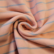 Load image into Gallery viewer, 1x1 Yarn Dyed Striped Rib Knit - Peach and Grey Stripes