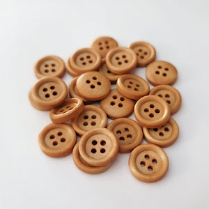 "Wooden Buttons 1/2"" - Toffee"
