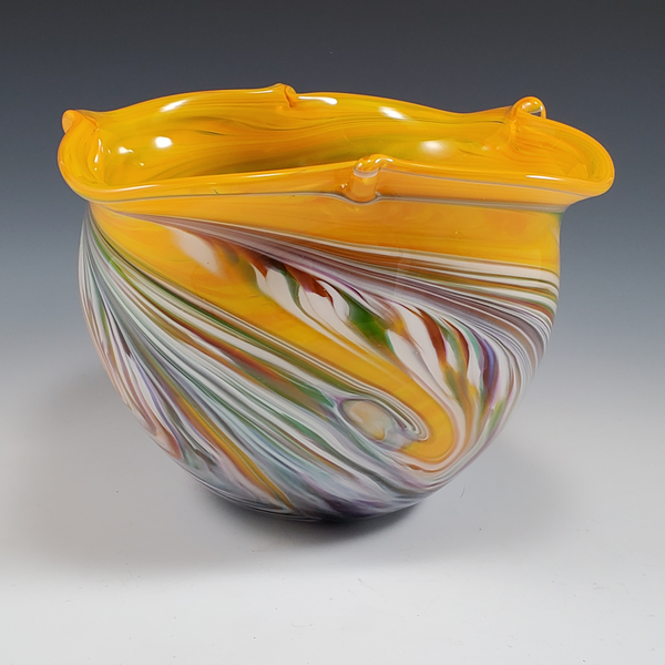 Yellow/Cool Mix - Color Pinch Bowl - Rosetree Blown Glass Studio and Gallery | New Orleans