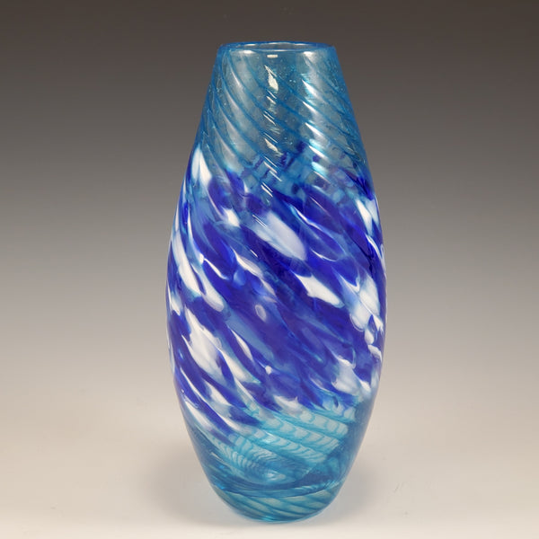 Turquoise - Taper Striped Vase - Rosetree Blown Glass Studio and Gallery | New Orleans