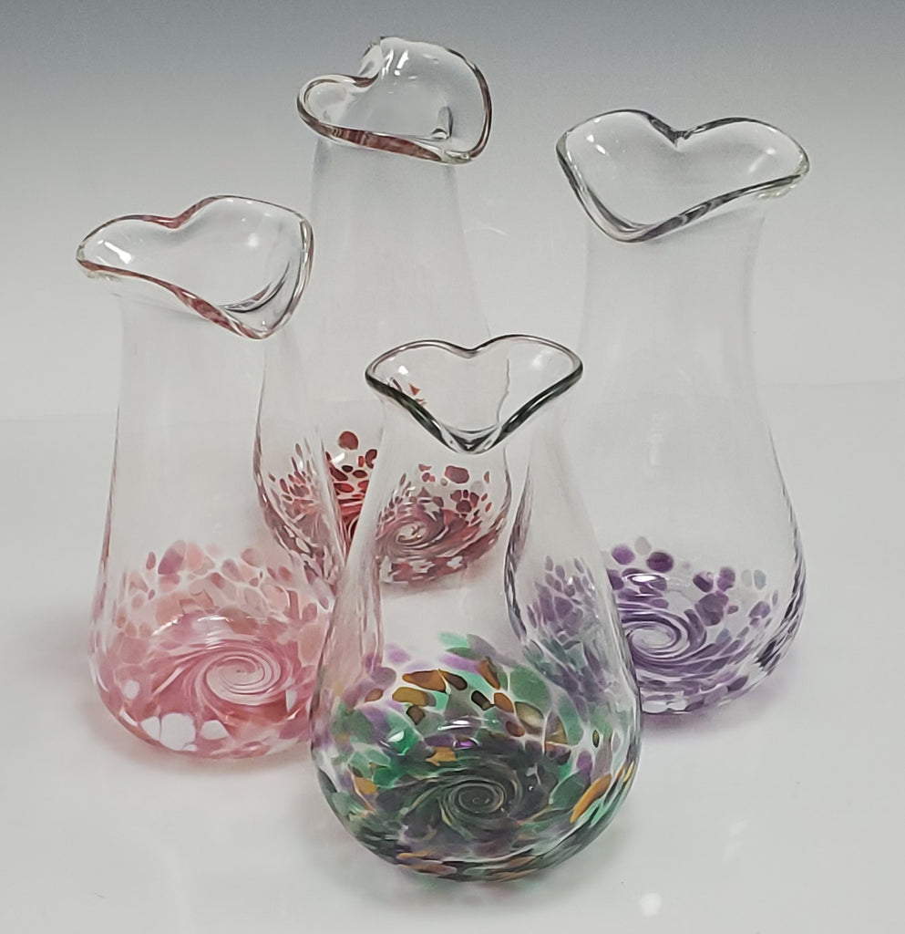Heart Bud Vases - Rosetree Blown Glass Studio and Gallery | New Orleans