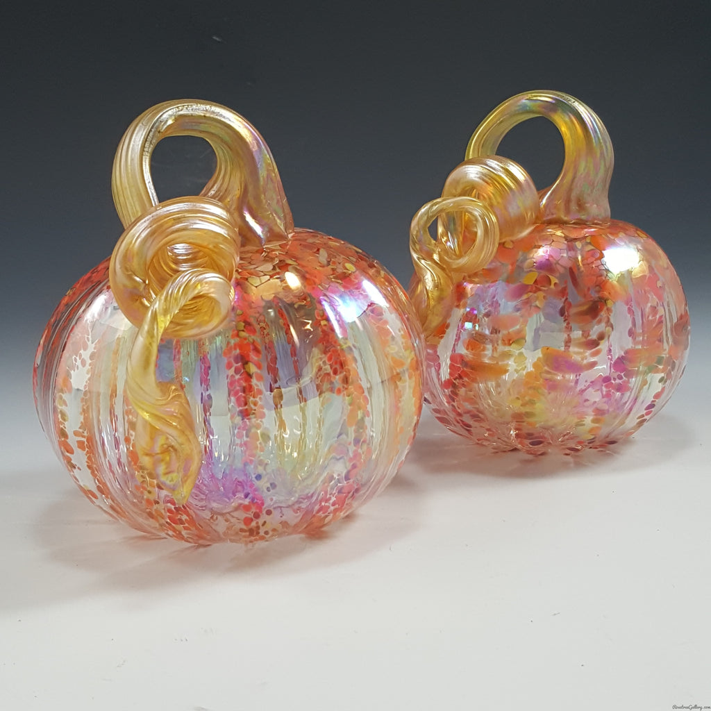 Striped Clear Pumpkin - Rosetree Blown Glass Studio and Gallery | New Orleans