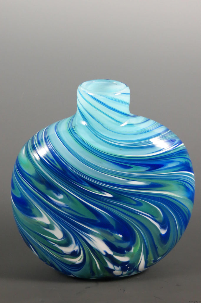 Flat Feather Disc Bud Vase - Rosetree Blown Glass Studio and Gallery | New Orleans