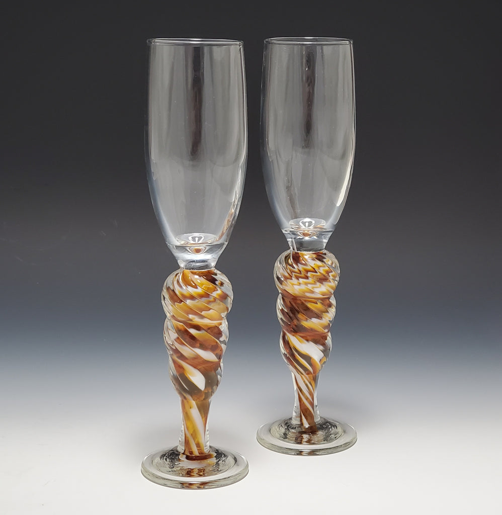 Optic Champagne Flute - Rosetree Blown Glass Studio and Gallery