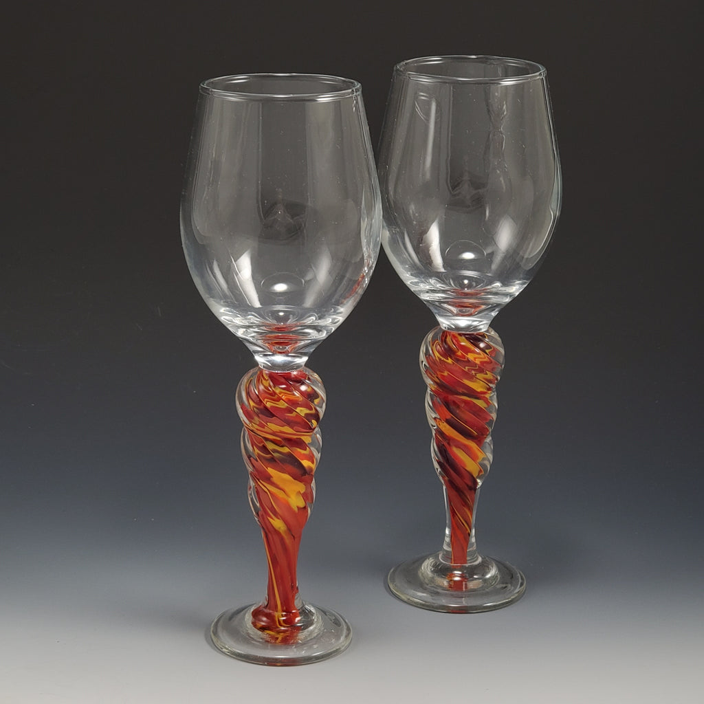 Optic Wine Goblet - Rosetree Blown Glass Studio and Gallery