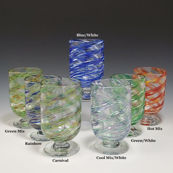 Dizzy Bevie Glasses (Sold as a pair) - Rosetree Blown Glass Studio and Gallery | New Orleans