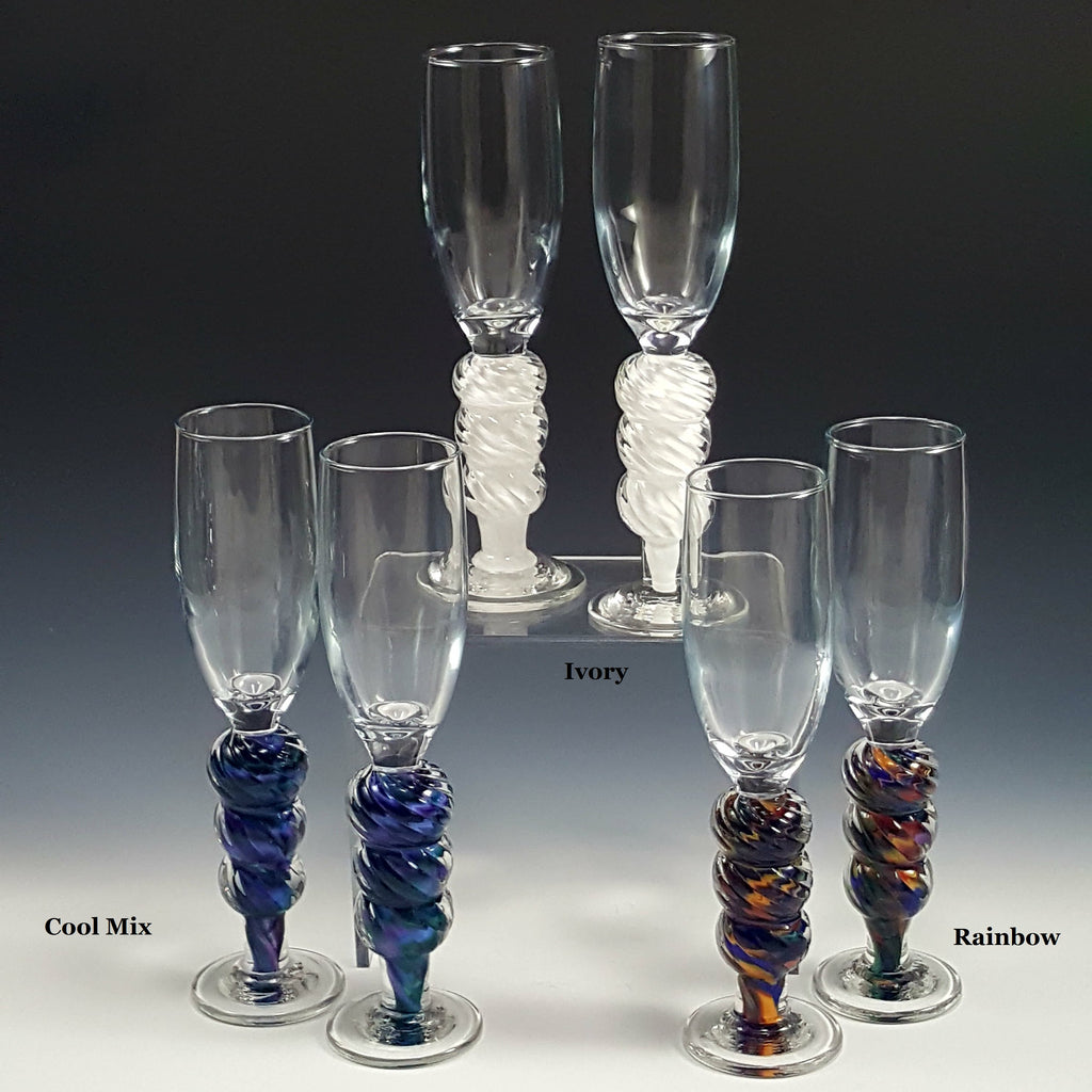 Optic Champagne Flute - Rosetree Blown Glass Studio and Gallery | New Orleans
