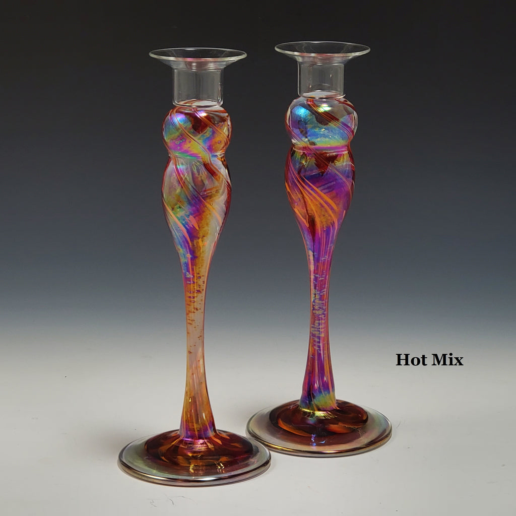 Candlestick Pair - Rosetree Blown Glass Studio and Gallery