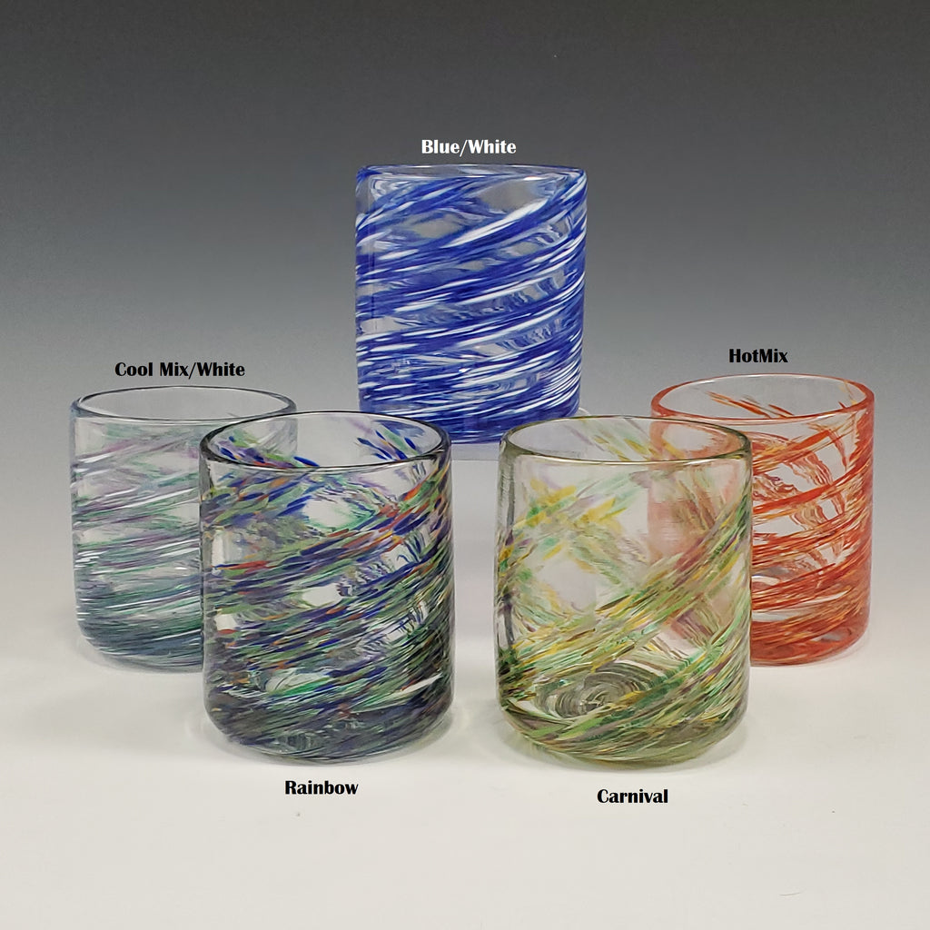 A Pair of Dizzy on the Rocks Glasses - Rosetree Blown Glass Studio and Gallery | New Orleans