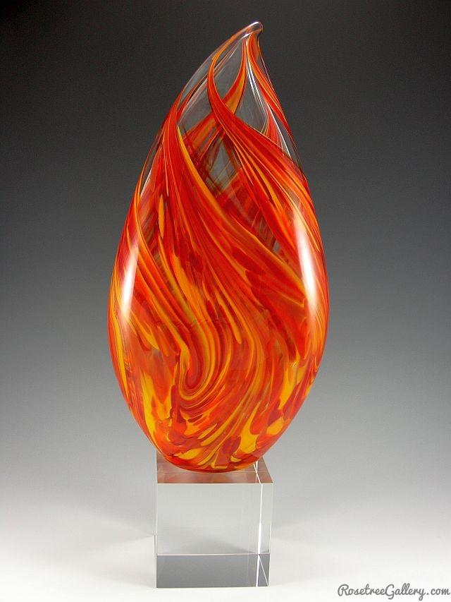 Clear Pulled Flame Award - Rosetree Blown Glass Studio and Gallery