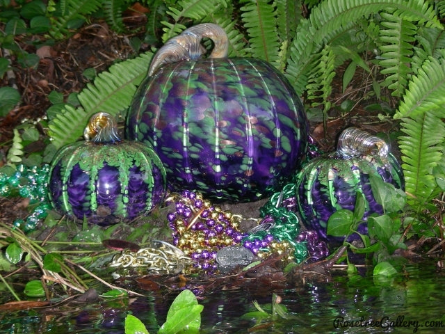 Mardi Gras Pumpkin - Rosetree Blown Glass Studio and Gallery | New Orleans