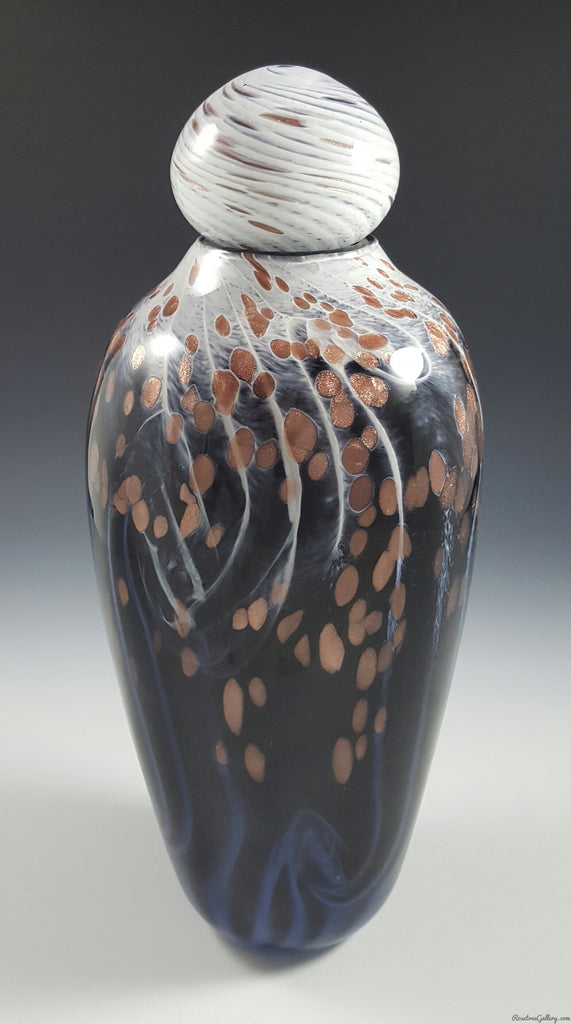 Two Tone Swirl Urn - Rosetree Blown Glass Studio and Gallery | New Orleans
