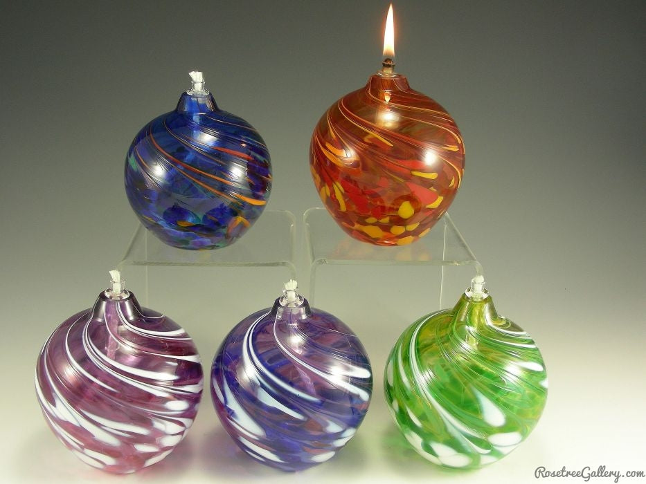 Round Oil Candle - Rosetree Blown Glass Studio and Gallery | New Orleans