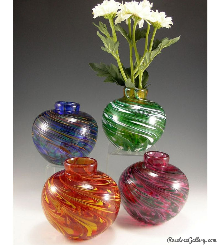 Round Bud Vase - Rosetree Blown Glass Studio and Gallery