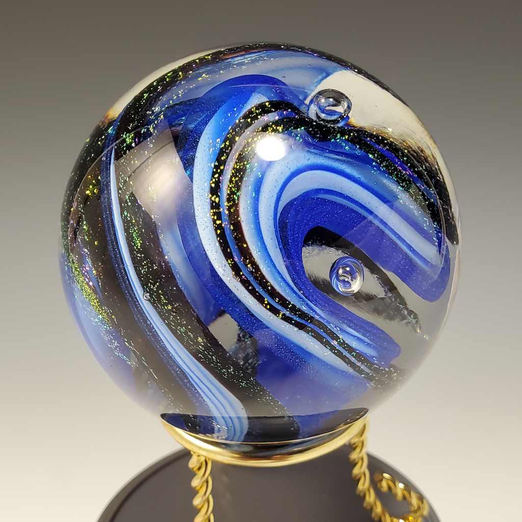 Blue Marble with Dichroic Swirls #2 - Rosetree Blown Glass Studio and Gallery | New Orleans