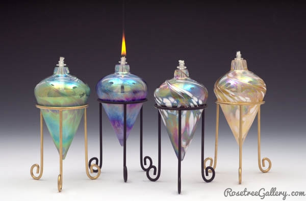 Iridescent Pointed Oil Candle - Rosetree Blown Glass Studio and Gallery | New Orleans