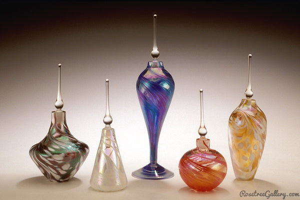 Iridescent Perfume Bottles - Rosetree Blown Glass Studio and Gallery | New Orleans