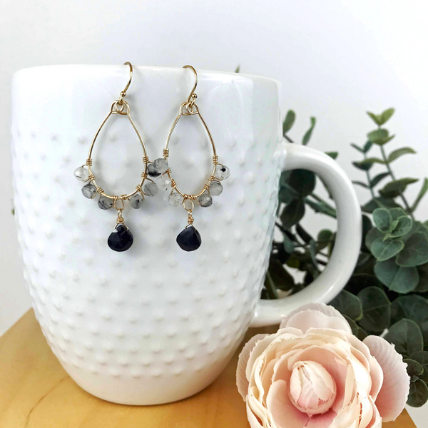 Tourmalinated moonstone and black garnet earrings