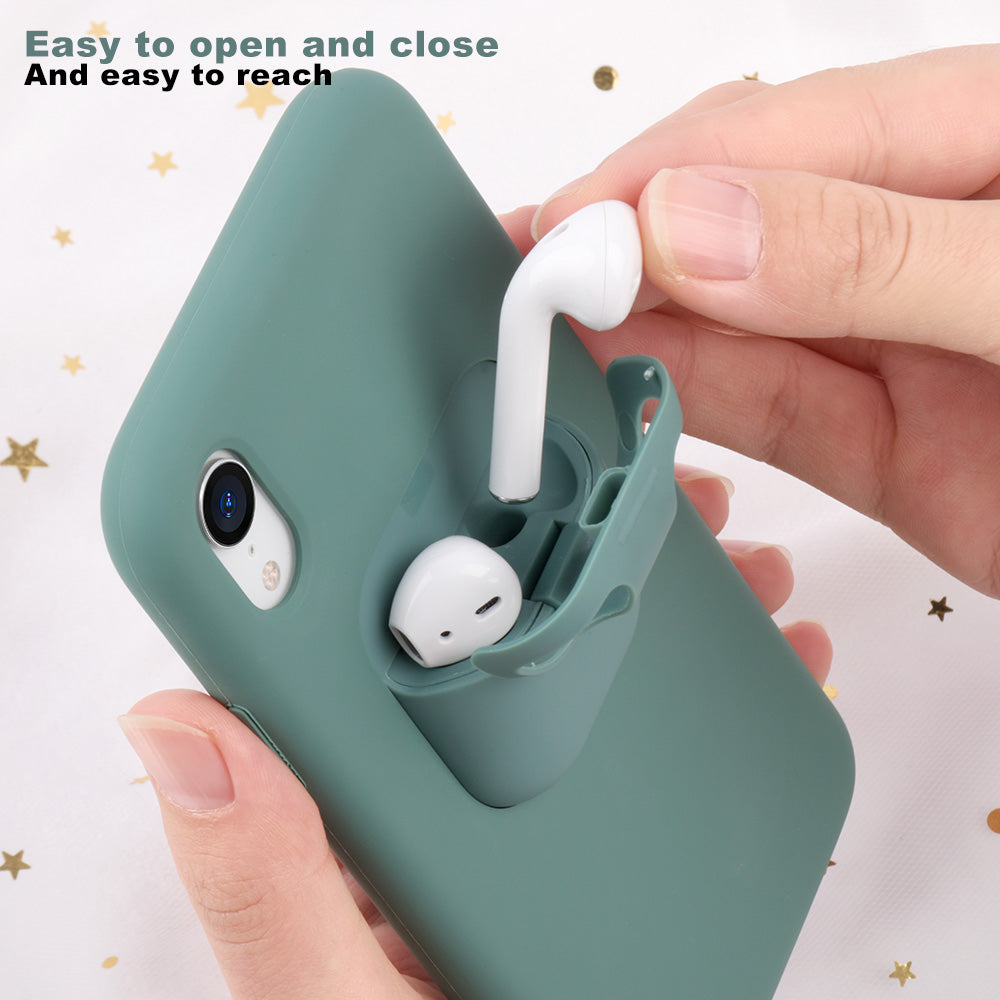 2 in 1 Fashion Liquid Silicone Phone Case For iPhone Shockproof Earphone Charging Box Cover For Airpods