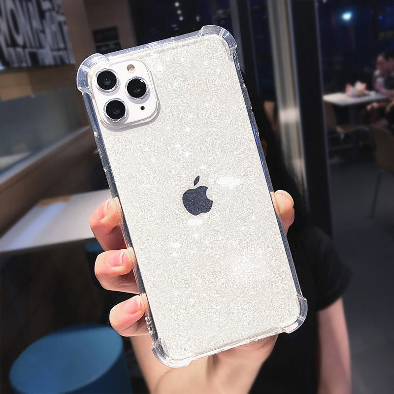 Transparent Soft TPU Back Cover Anti-knock Shining Glitter  Phone Case For iPhone