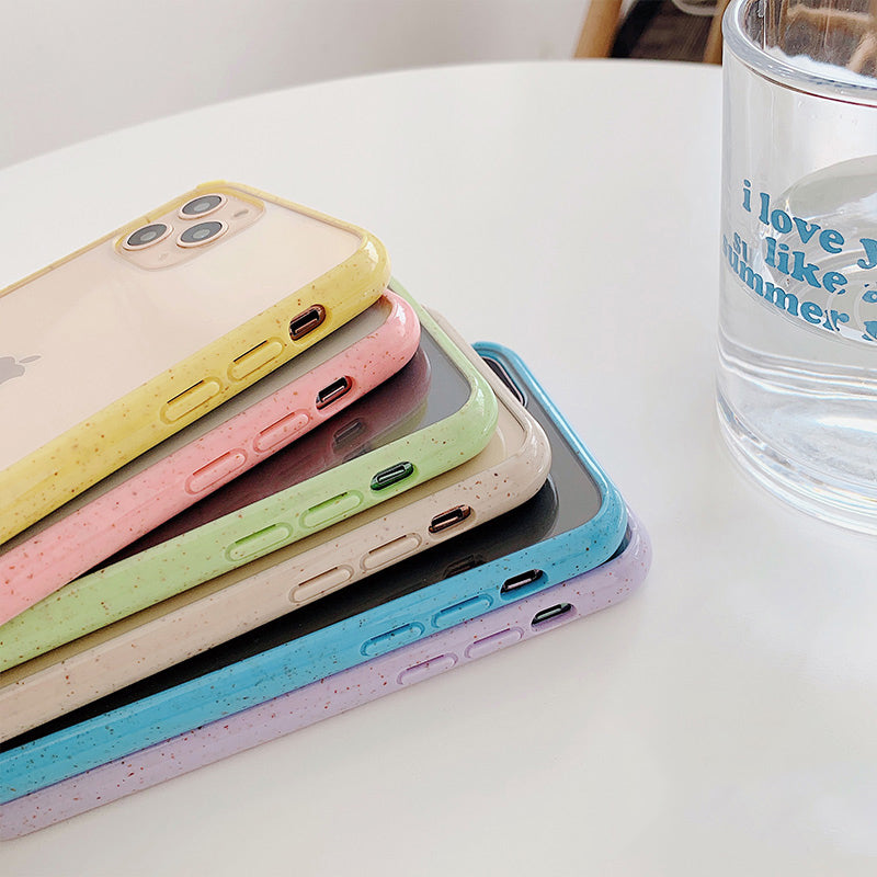 Candy Color Frame Soft Transparent  Case For iPhone