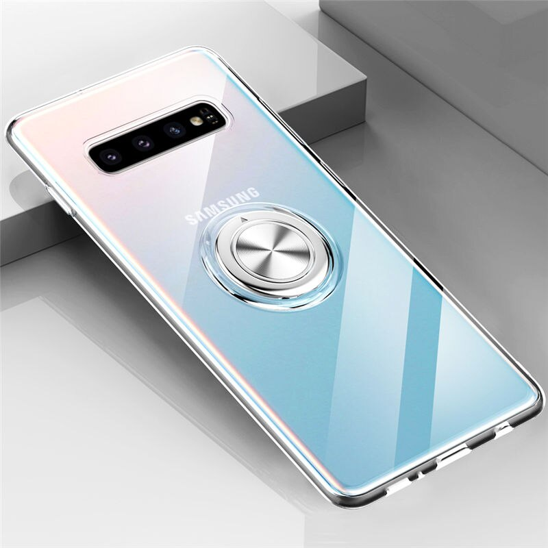 Transparent Soft Silicone Stand Ring Holder Case For Samsung
