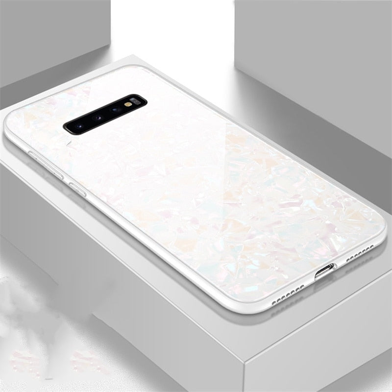 Marble Tempered Glass Hard Back Cover For Samsung Galaxy