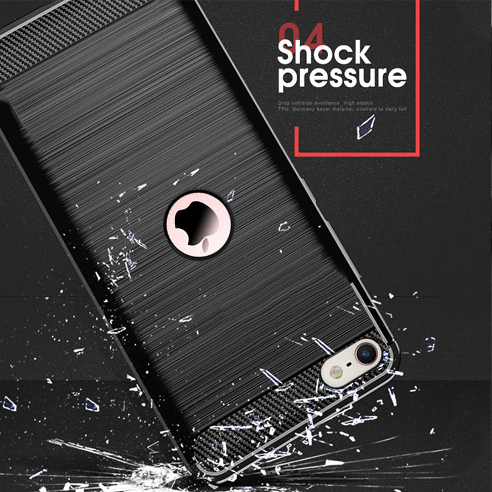 Carbon Fiber Cover Shockproof Phone Case For iPhone SE2