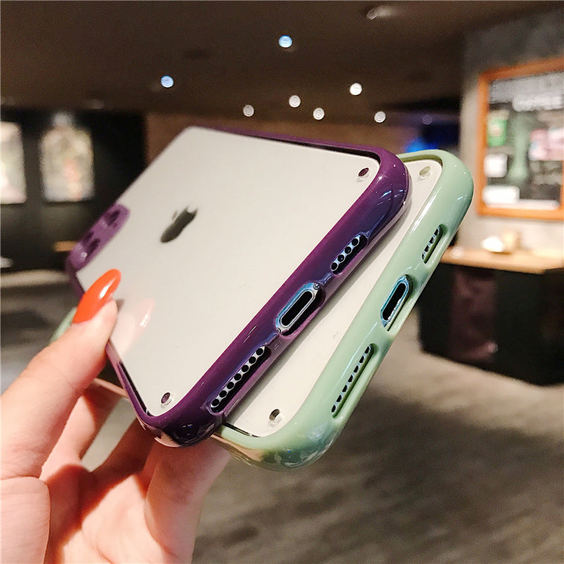 Candy Color Clear Fully Protected Lens Phone Case For iPhone