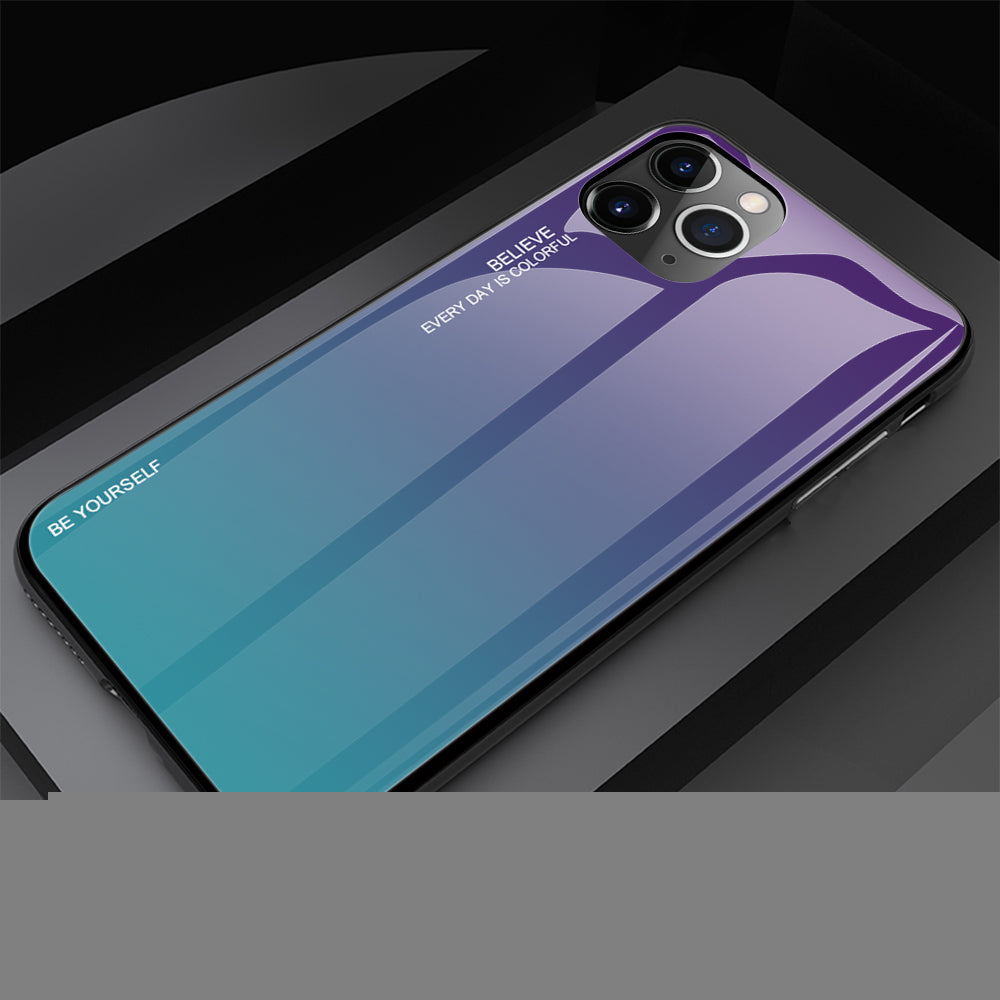 Gradient Painted Tempered Glass Cover For iPhone