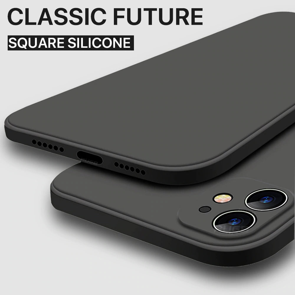 Solid Color Liquid Silicone Camera Full Protection Phone Case For iPhone
