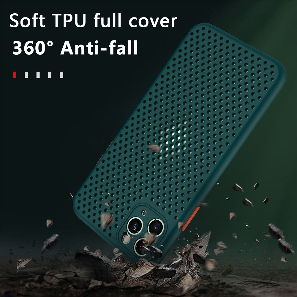 Heat Dissipation Breathable Cooling Phone Case For iPhone Soft TPU Plain Color Case