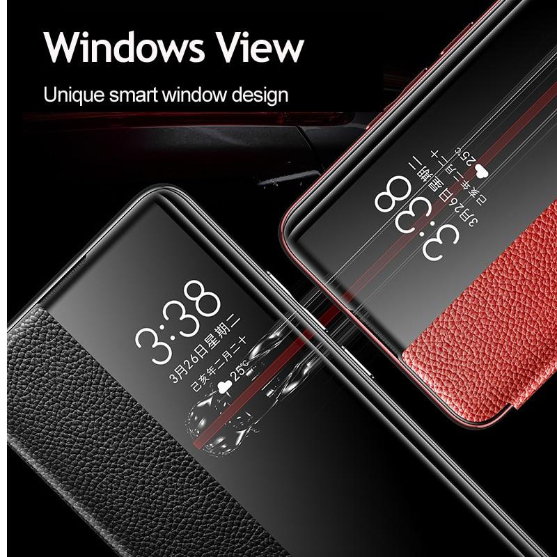Genuine Leather Smart View Window Flip Cases For Huawei