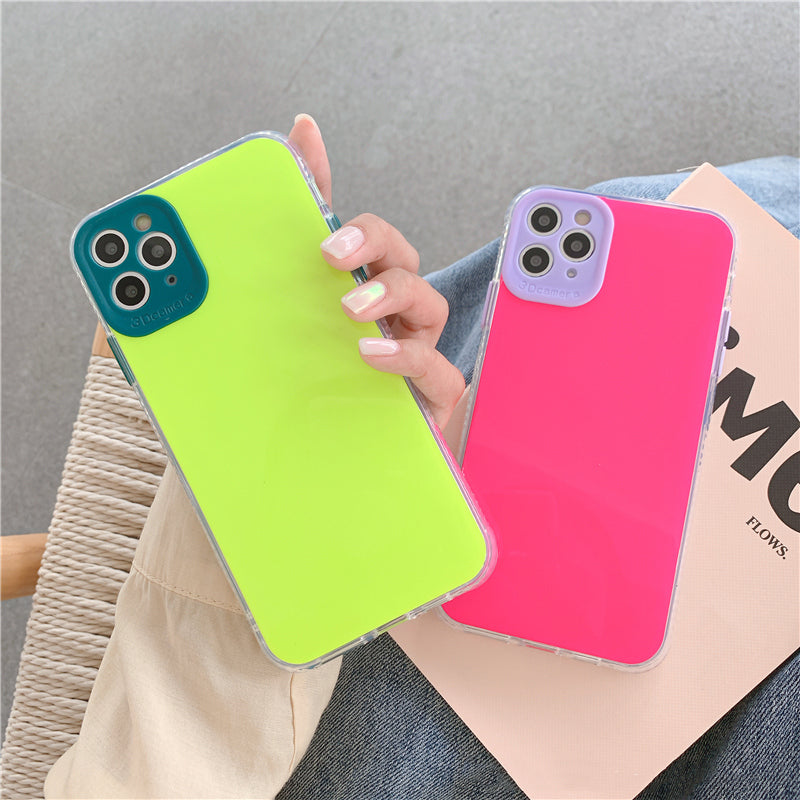INS Solid Color Bumper Shockproof Phone Camera Lens protection Case for iphone