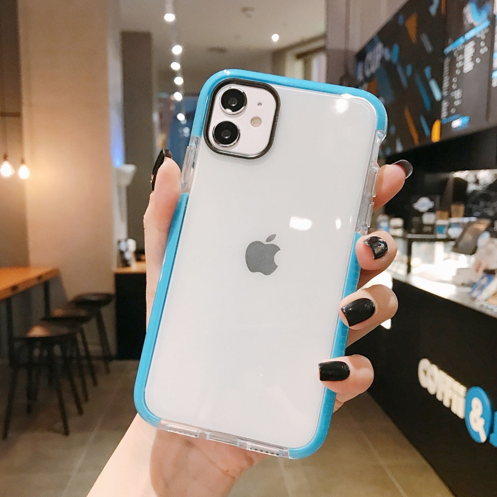 Shockproof Soft TPU Solid Color Clear Phone Case For iPhone