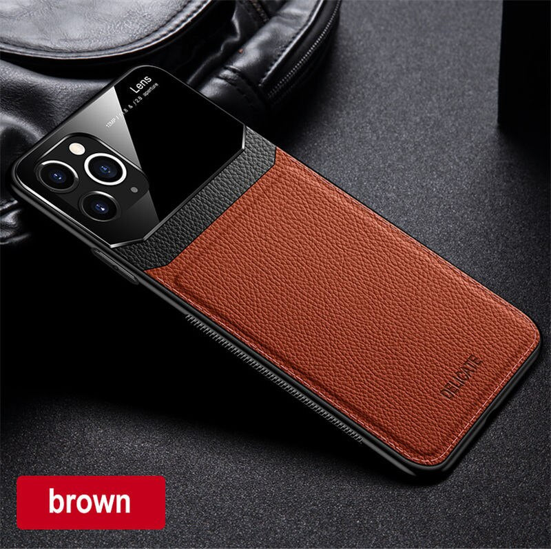 PU Leather Anti Fall Cover For Luxury  Mirror Leather Case For iPhone