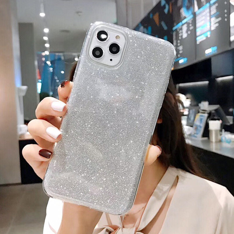 Soft TPU Silicone Solid Shiny Glitter Bling Candy Color Case For iPhone