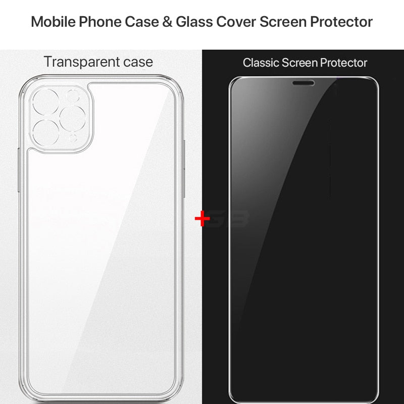Luxury Square Transparent Shockproof Case For iPhone