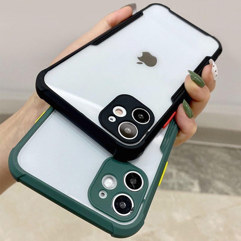 Luxury Shockproof Lens Protective Transparent Case For iPhone