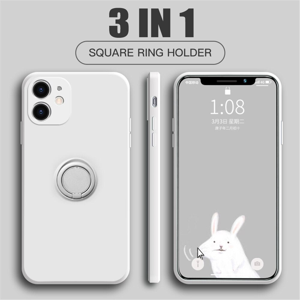 Original Square Liquid Silicone Magnetic Ring Holder Bracket Soft Cover Case For iPhone