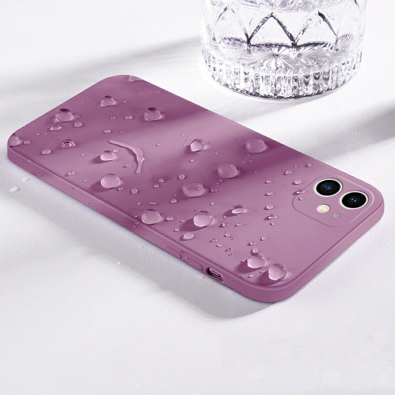 Original Square Liquid Silicone  Solid Color Soft Cover Phone Case For iPhone