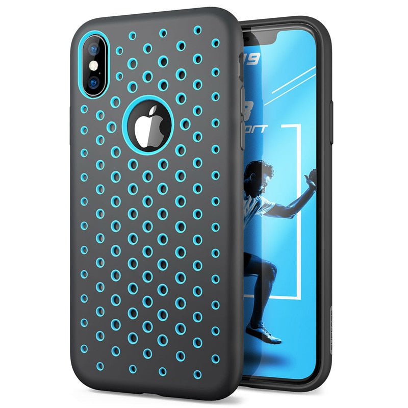Liquid Silicone Rubber Premium PC Hybrid Cover Hole  with Heat Dissipation Case For iPhone