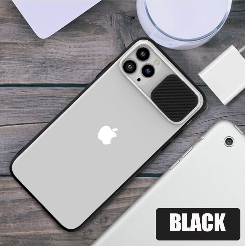 Slide Camera Lens Protection Shockproof Case For iPhone Soft Clear TPU Back Cover
